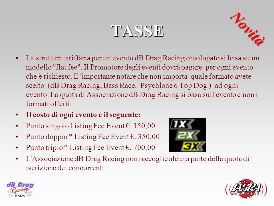 TASSE La struttura tariffaria per un evento dB Drag Racing omologato si basa su un modello