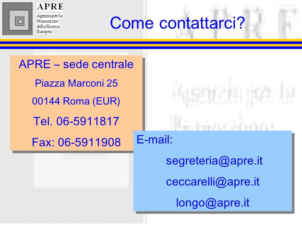 APRE – sede centrale Piazza Marconi 25 00144 Roma (EUR) Tel.
