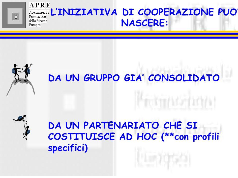 LINIZIATIVA DI COOPERAZIONE PUO NASCERE: DA UN GRUPPO GIA CONSOLIDATO DA UN PARTENARIATO CHE SI COSTITUISCE AD HOC (**con profili specifici)