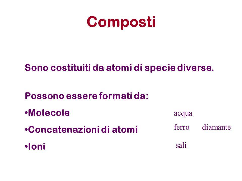 Stechiometria dei composti Formula chimica: deve indicare come minimo quali sono gli elementi che costituiscono la sostanza e in quale rapporto gli atomi di questi elementi si trovano.