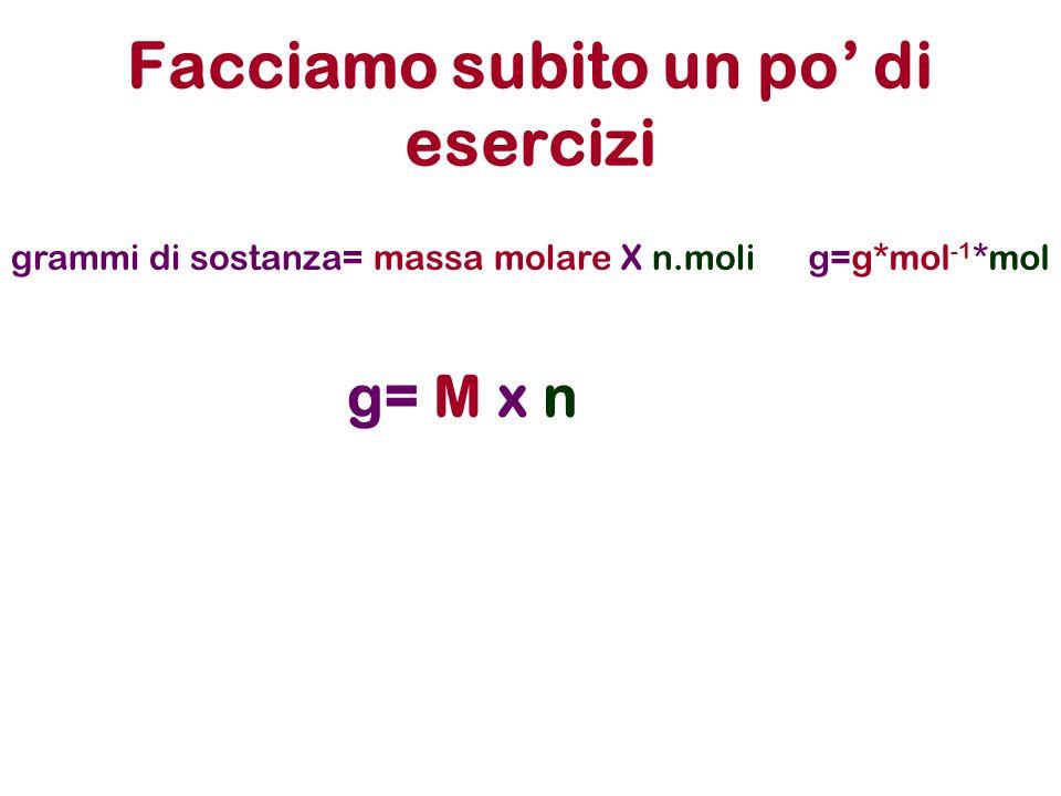 Facciamo subito un po di esercizi grammi di sostanza= massa molare X n.molig=g*mol -1 *mol g= M x n