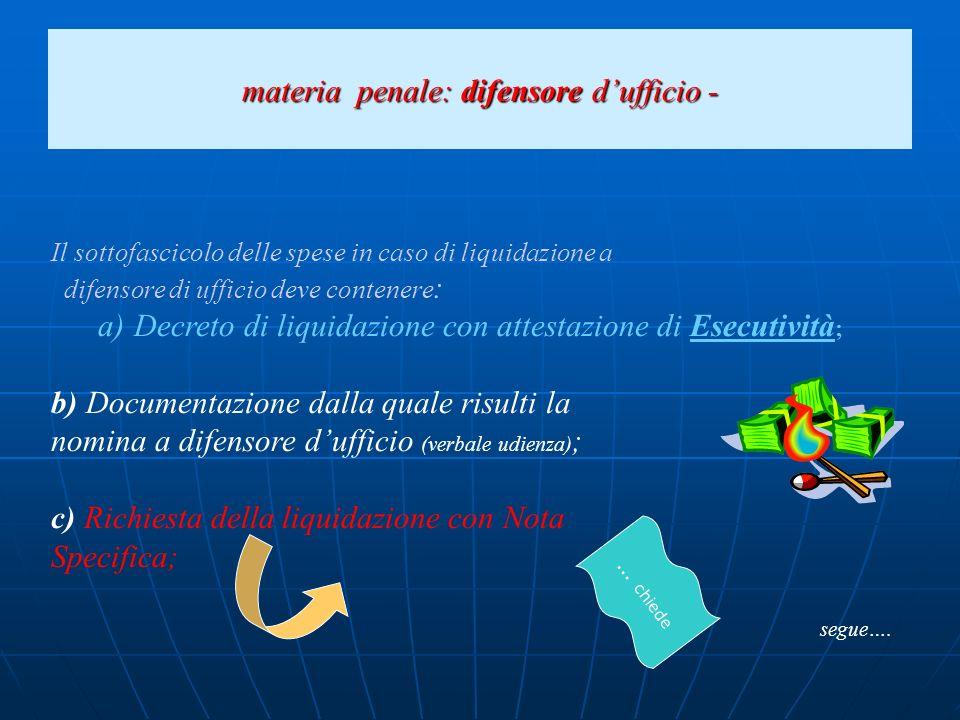 materia penale: difensore dufficio - Documentazione a sostegno dellesperimento della procedura per il recupero del credito (decreto ingiuntivo, precetto, verbale di pignoramento).