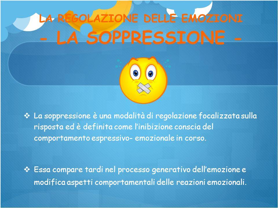LA REGOLAZIONE DELLE EMOZIONI - LA SOPPRESSIONE - La soppressione è una modalità di regolazione focalizzata sulla risposta ed è definita come linibizi