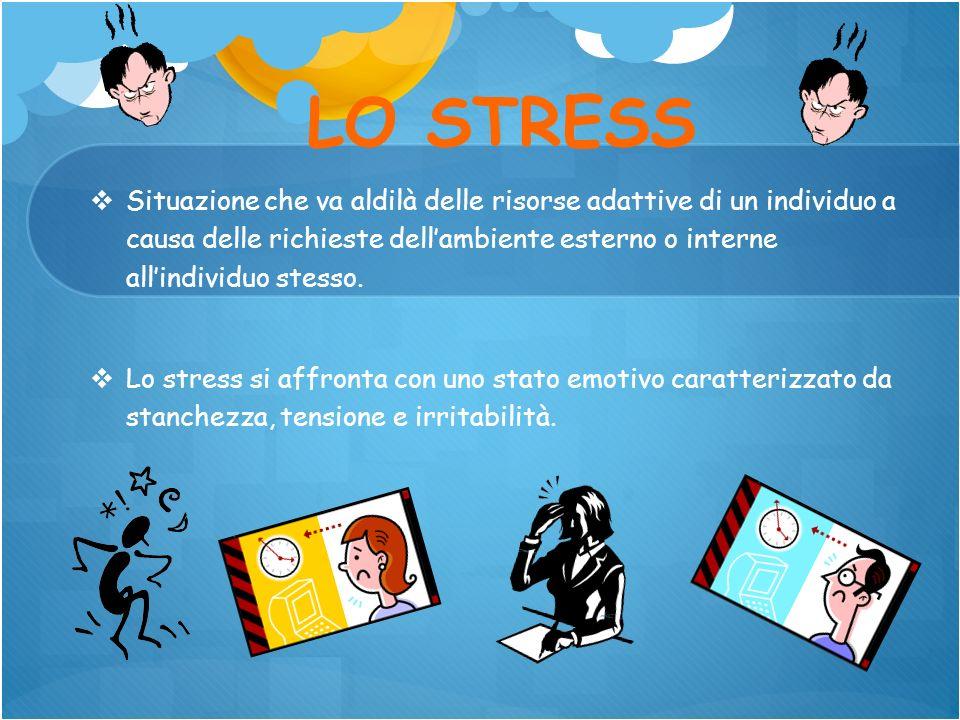 LO STRESS Situazione che va aldilà delle risorse adattive di un individuo a causa delle richieste dellambiente esterno o interne allindividuo stesso.