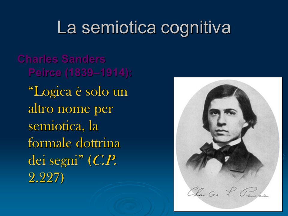 La semiotica cognitiva Charles Sanders Peirce (1839–1914): Logica è solo un altro nome per semiotica, la formale dottrina dei segni (C.P. 2.227) Logic