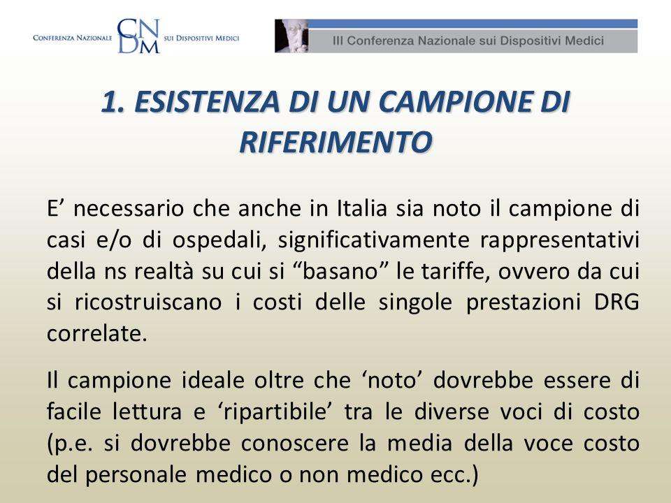 1. ESISTENZA DI UN CAMPIONE DI RIFERIMENTO E necessario che anche in Italia sia noto il campione di casi e/o di ospedali, significativamente rappresen