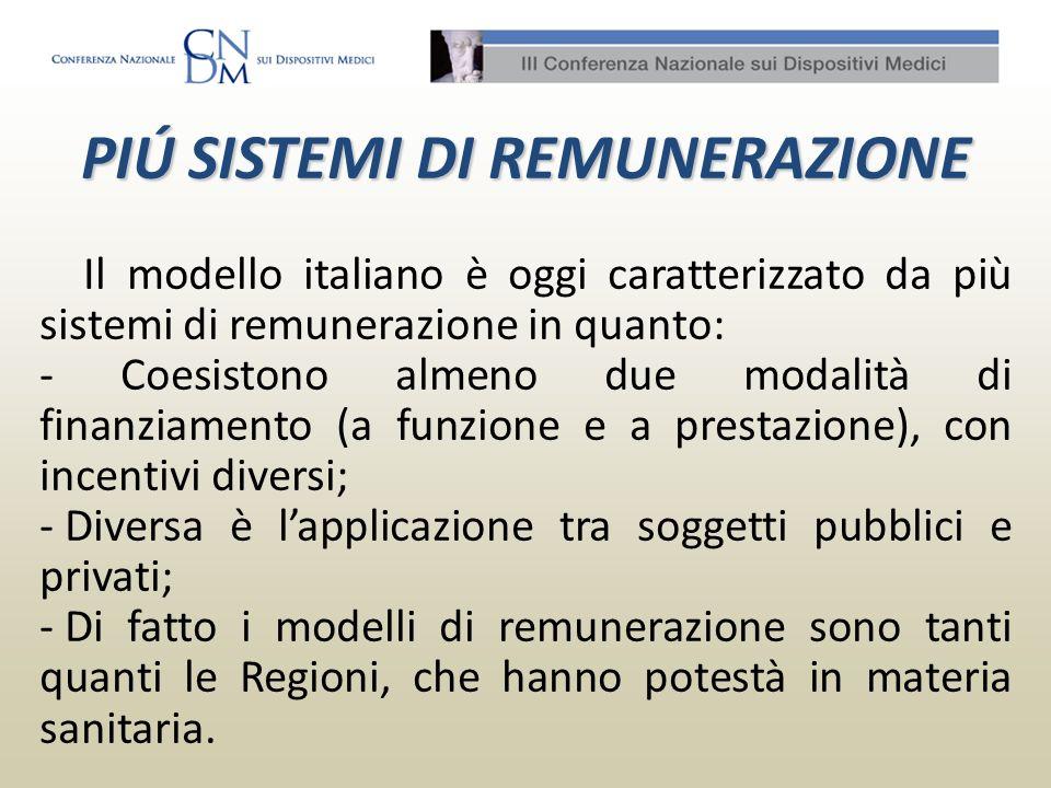 Il modello italiano è oggi caratterizzato da più sistemi di remunerazione in quanto: - Coesistono almeno due modalità di finanziamento (a funzione e a