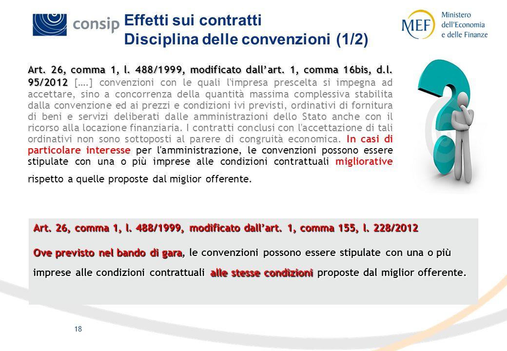 18 Art. 26, comma 1, l. 488/1999, modificato dallart. 1, comma 16bis, d.l. 95/2012 Art. 26, comma 1, l. 488/1999, modificato dallart. 1, comma 16bis,