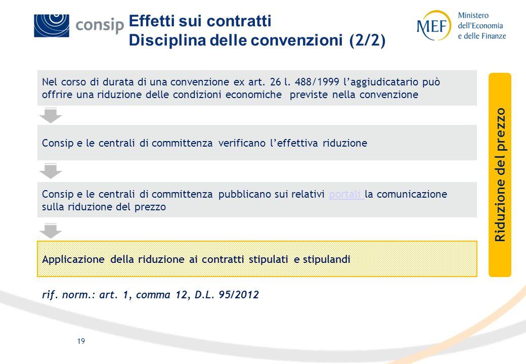 19 Nel corso di durata di una convenzione ex art. 26 l. 488/1999 laggiudicatario può offrire una riduzione delle condizioni economiche previste nella