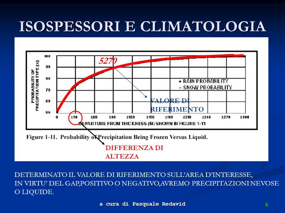 5 a cura di Pasquale Redavid ISOSPESSORI E CLIMATOLOGIA DETERMINATO IL VALORE DI RIFERIMENTO SULLAREA DINTERESSE, IN VIRTU DEL GAP,POSITIVO O NEGATIVO