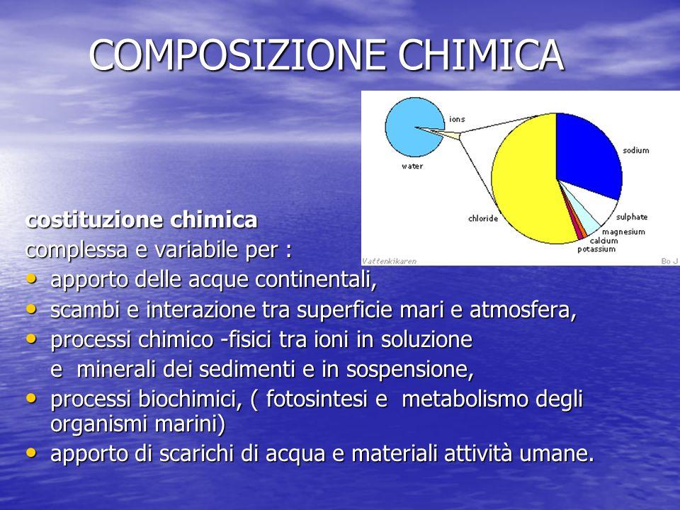 COMPOSIZIONE CHIMICA costituzione chimica complessa e variabile per : apporto delle acque continentali, apporto delle acque continentali, scambi e int