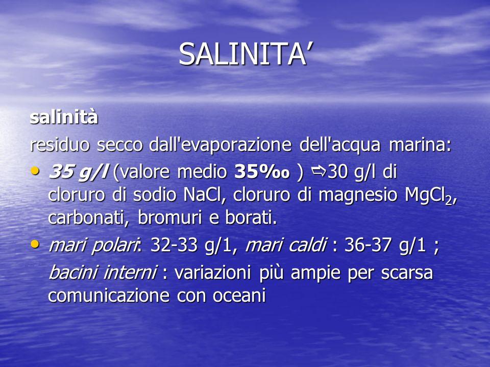 SALINITA salinità residuo secco dall'evaporazione dell'acqua marina: 35 g/l (valore medio 35 ) 30 g/l di cloruro di sodio NaCl, cloruro di magnesio Mg