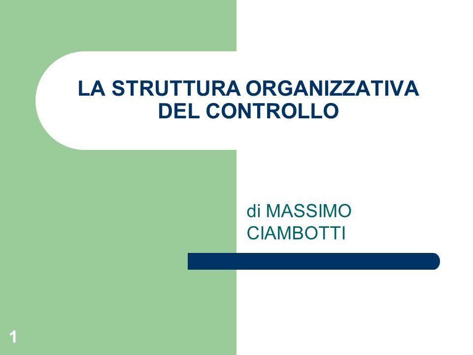 1 LA STRUTTURA ORGANIZZATIVA DEL CONTROLLO di MASSIMO CIAMBOTTI