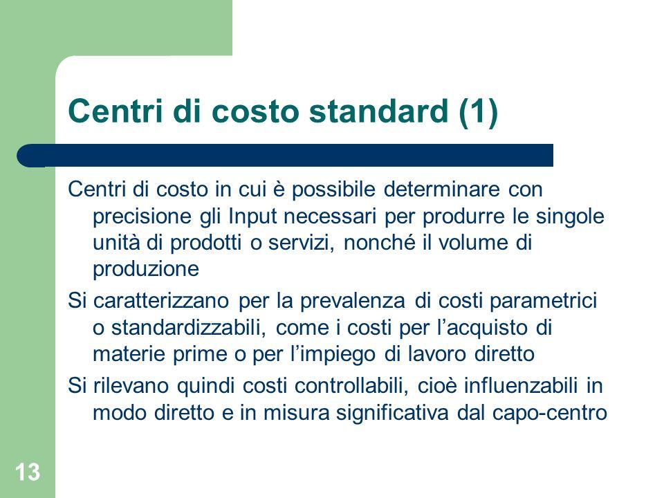 13 Centri di costo standard (1) Centri di costo in cui è possibile determinare con precisione gli Input necessari per produrre le singole unità di pro