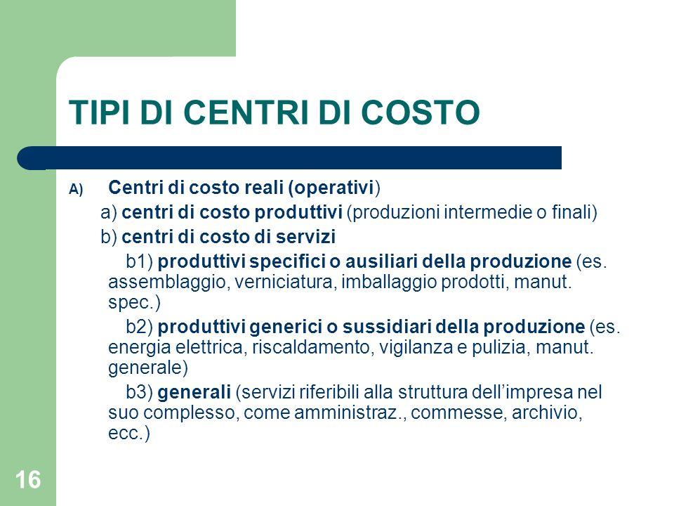 16 TIPI DI CENTRI DI COSTO A) Centri di costo reali (operativi) a) centri di costo produttivi (produzioni intermedie o finali) b) centri di costo di s