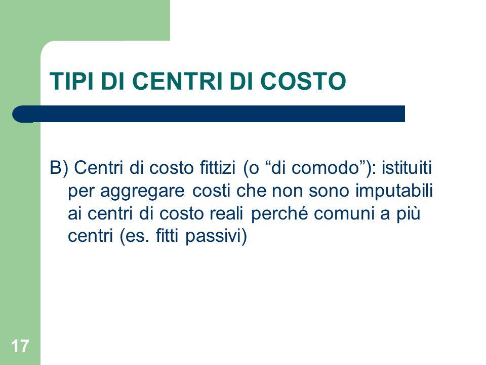 17 TIPI DI CENTRI DI COSTO B) Centri di costo fittizi (o di comodo): istituiti per aggregare costi che non sono imputabili ai centri di costo reali pe