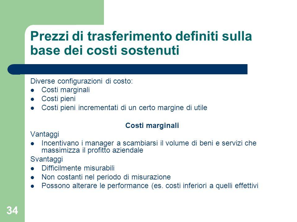 34 Prezzi di trasferimento definiti sulla base dei costi sostenuti Diverse configurazioni di costo: Costi marginali Costi pieni Costi pieni incrementa
