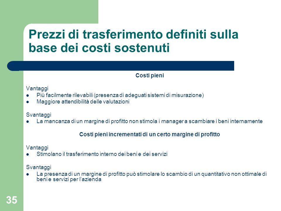 35 Prezzi di trasferimento definiti sulla base dei costi sostenuti Costi pieni Vantaggi Più facilmente rilevabili (presenza di adeguati sistemi di mis
