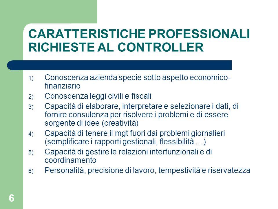 6 CARATTERISTICHE PROFESSIONALI RICHIESTE AL CONTROLLER 1) Conoscenza azienda specie sotto aspetto economico- finanziario 2) Conoscenza leggi civili e