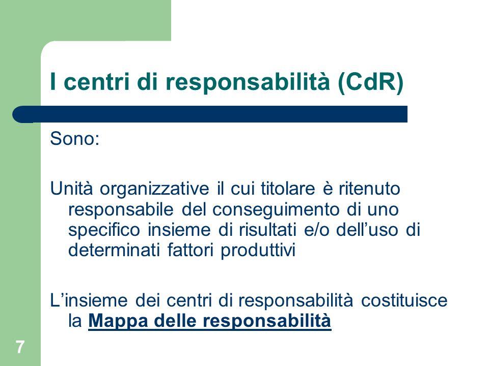 7 I centri di responsabilità (CdR) Sono: Unità organizzative il cui titolare è ritenuto responsabile del conseguimento di uno specifico insieme di ris