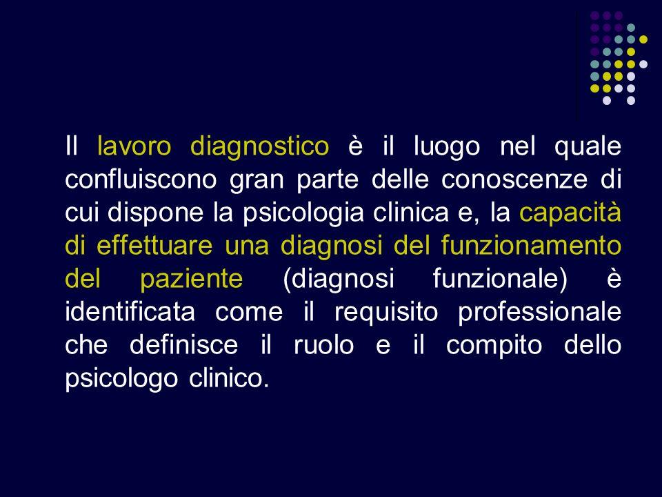 Il lavoro diagnostico è il luogo nel quale confluiscono gran parte delle conoscenze di cui dispone la psicologia clinica e, la capacità di effettuare