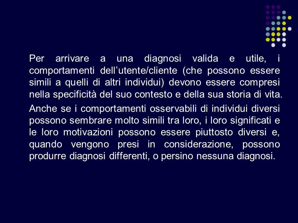 Per arrivare a una diagnosi valida e utile, i comportamenti dellutente/cliente (che possono essere simili a quelli di altri individui) devono essere c