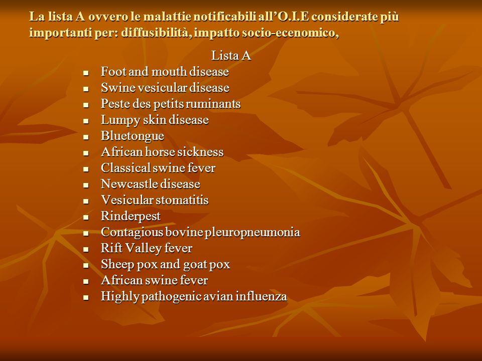La lista A ovvero le malattie notificabili allO.I.E considerate più importanti per: diffusibilità, impatto socio-ecenomico, Lista A Foot and mouth dis