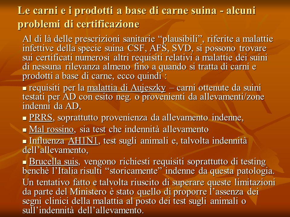 Le carni e i prodotti a base di carne suina - alcuni problemi di certificazione Al di là delle prescrizioni sanitarie plausibili, riferite a malattie