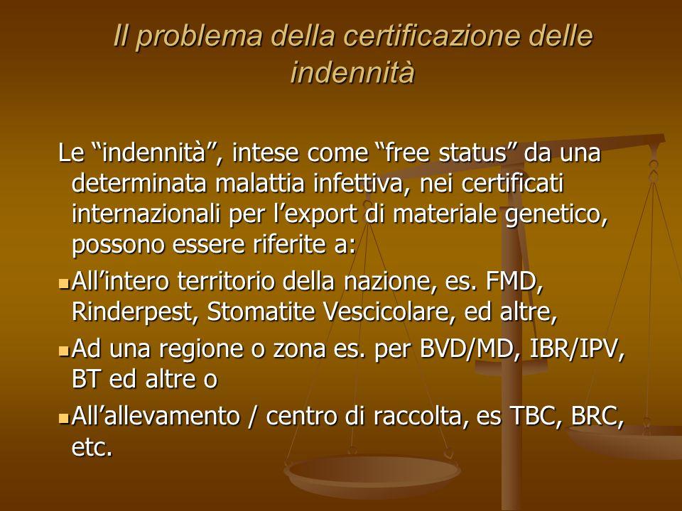Il problema della certificazione delle indennità Le indennità, intese come free status da una determinata malattia infettiva, nei certificati internaz