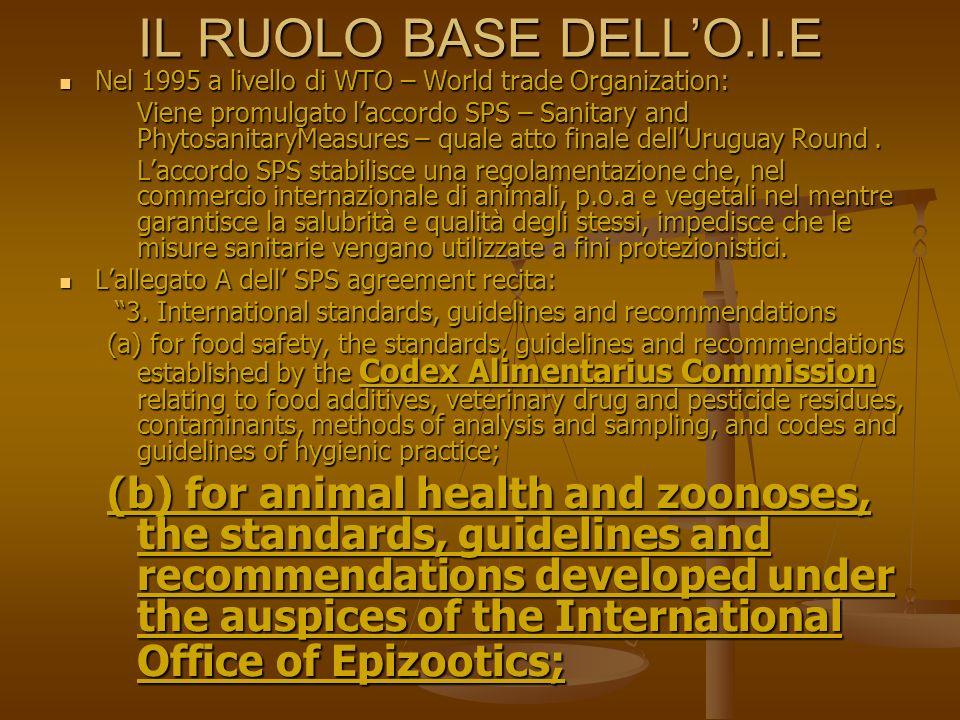 Dopo la Promulgazione dellSPS Agreement da parte del WTO Da subito il ruolo dellO.I.E acquisisce enorme importanza (così come quello del Codex Alimentarius della FAO) con particolare riferimento a quanto riportato nel Terrestrial Animal Health Code, dove sono listate le malattie animali per le quali possono essere adottate misure restrittive alle importazioni.