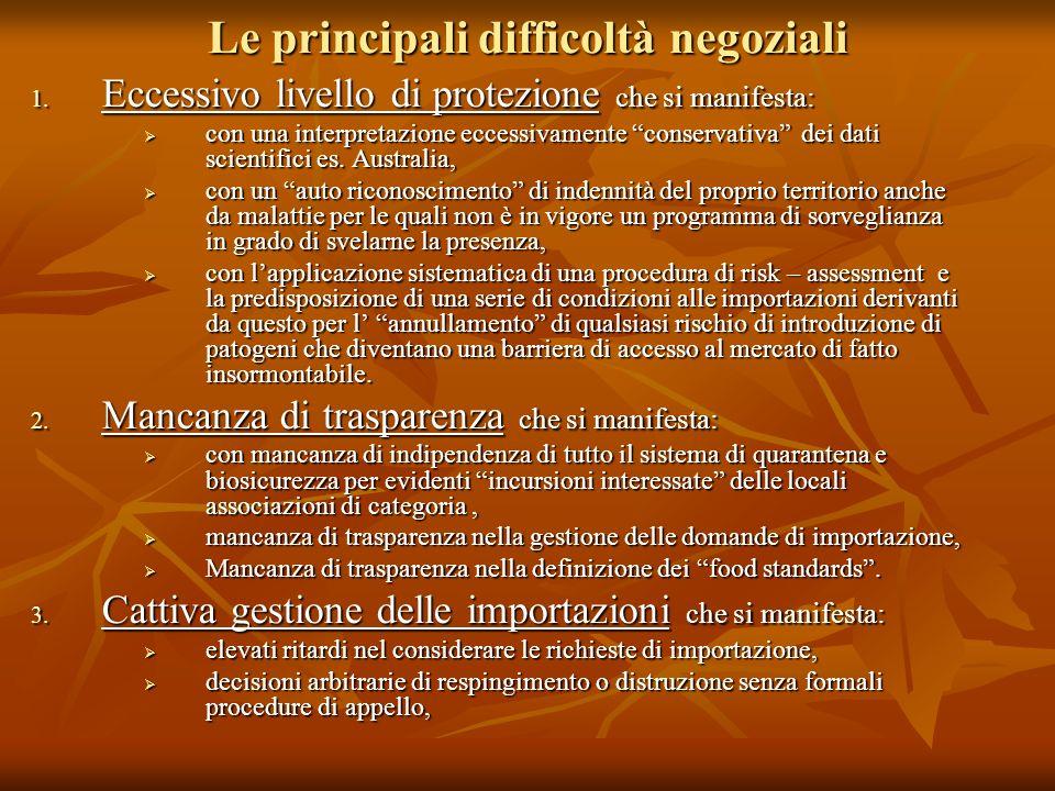 Le principali difficoltà negoziali 1. Eccessivo livello di protezione che si manifesta: con una interpretazione eccessivamente conservativa dei dati s