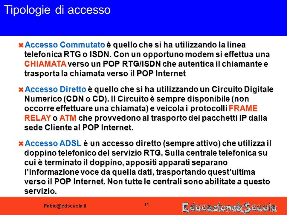 Fabio@edscuola.it 11 Tipologie di accesso 6 Accesso Commutato è quello che si ha utilizzando la linea telefonica RTG o ISDN. Con un opportuno modem si