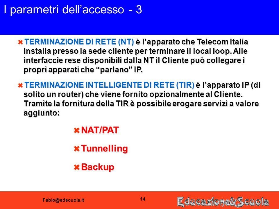 Fabio@edscuola.it 14 I parametri dellaccesso - 3 6 TERMINAZIONE DI RETE (NT) è lapparato che Telecom Italia installa presso la sede cliente per terminare il local loop.