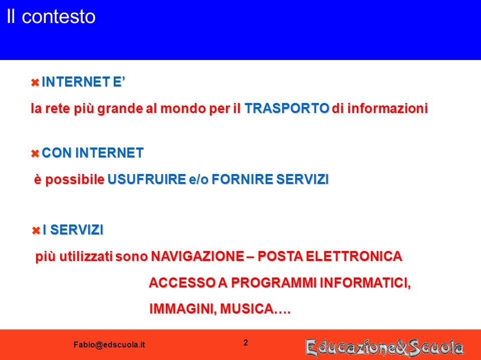 Fabio@edscuola.it 2 Il contesto 6 INTERNET E la rete più grande al mondo per il TRASPORTO di informazioni 6 CON INTERNET è possibile USUFRUIRE e/o FORNIRE SERVIZI è possibile USUFRUIRE e/o FORNIRE SERVIZI 6 I SERVIZI più utilizzati sono NAVIGAZIONE – POSTA ELETTRONICA più utilizzati sono NAVIGAZIONE – POSTA ELETTRONICA ACCESSO A PROGRAMMI INFORMATICI, ACCESSO A PROGRAMMI INFORMATICI, IMMAGINI, MUSICA….