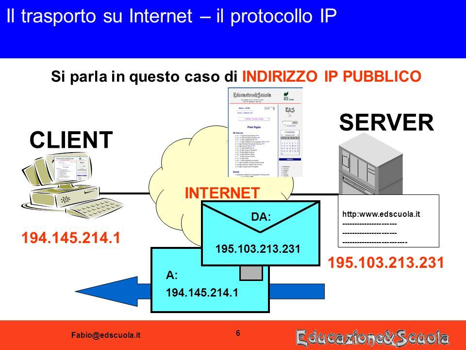 Fabio@edscuola.it 6 Il trasporto su Internet – il protocollo IP CLIENT SERVER INTERNET Si parla in questo caso di INDIRIZZO IP PUBBLICO 194.145.214.1 195.103.213.231 194.145.214.1 A: 195.103.213.231 DA: http:www.edscuola.it ---------------------- --------------------------