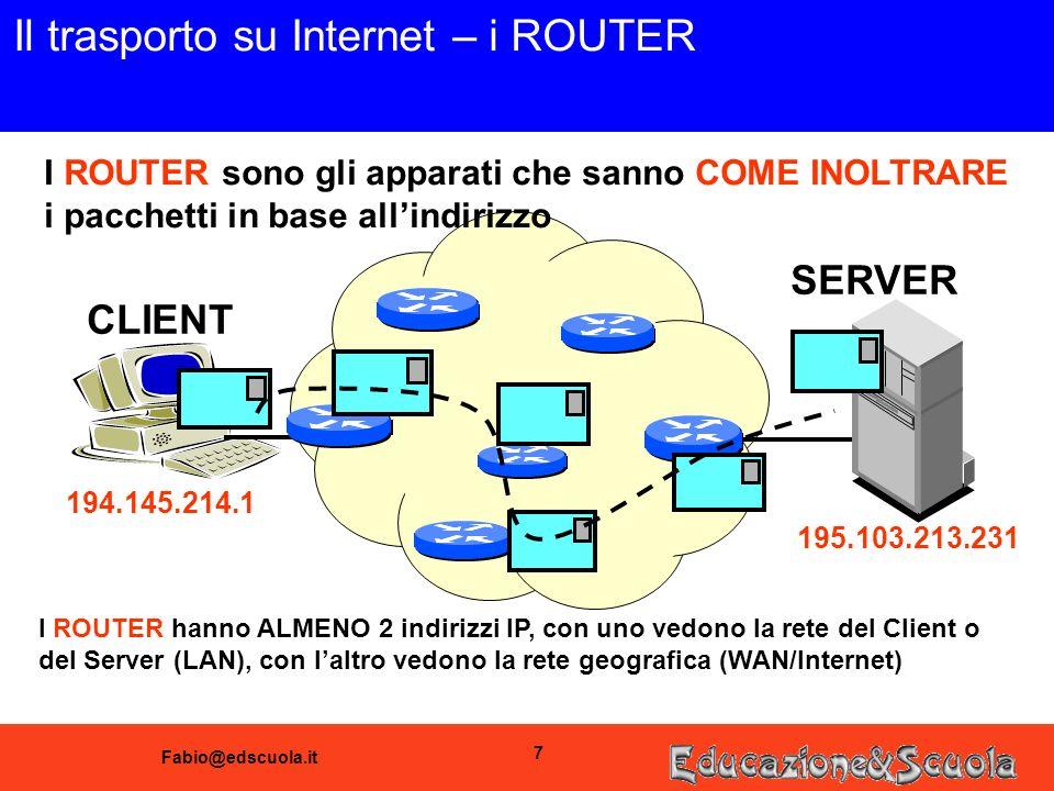Fabio@edscuola.it 7 Il trasporto su Internet – i ROUTER CLIENT SERVER I ROUTER sono gli apparati che sanno COME INOLTRARE i pacchetti in base allindirizzo 194.145.214.1 195.103.213.231 I ROUTER hanno ALMENO 2 indirizzi IP, con uno vedono la rete del Client o del Server (LAN), con laltro vedono la rete geografica (WAN/Internet)