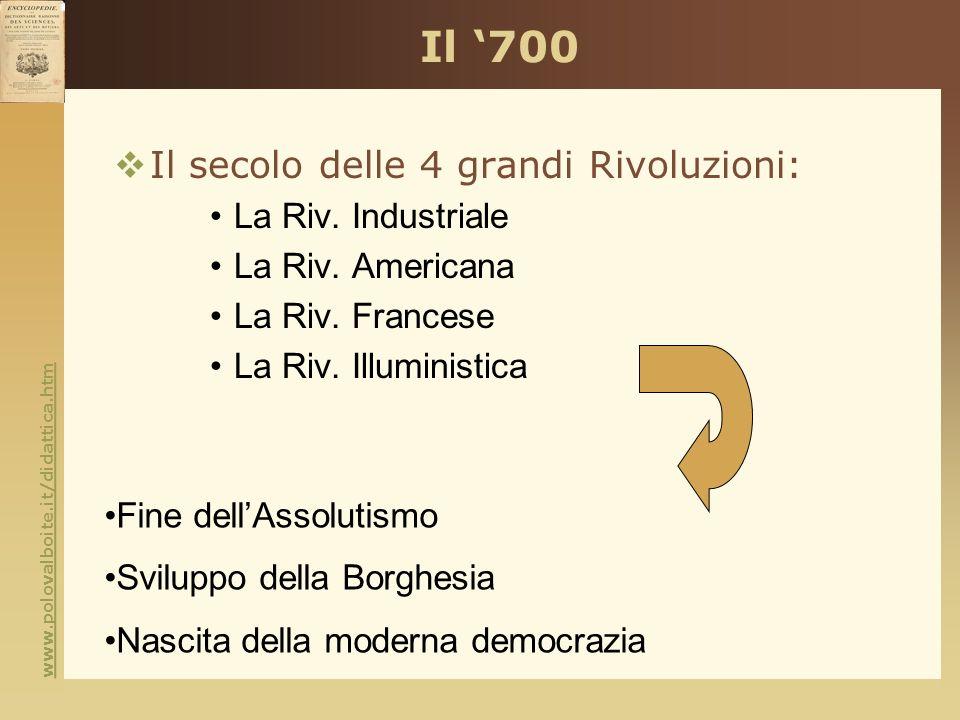 www.polovalboite.it/didattica.htm Il 700 Il secolo delle 4 grandi Rivoluzioni: La Riv. Industriale La Riv. Americana La Riv. Francese La Riv. Illumini