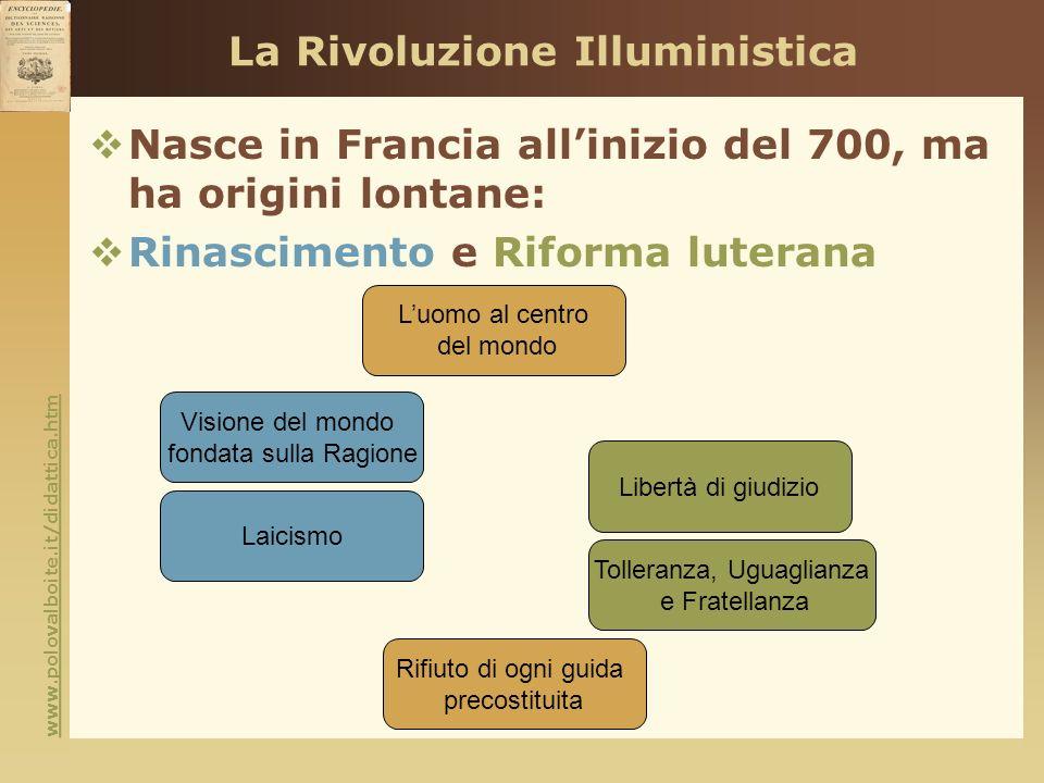 www.polovalboite.it/didattica.htm La Rivoluzione Illuministica Nasce in Francia allinizio del 700, ma ha origini lontane: Rinascimento e Riforma luter