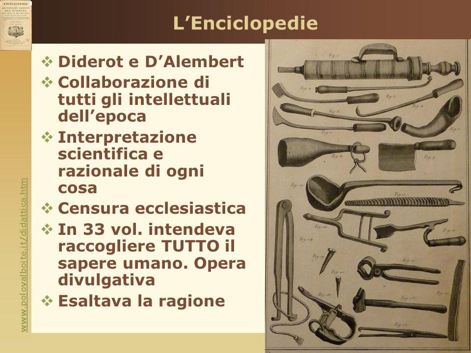 www.polovalboite.it/didattica.htm LEnciclopedie Diderot e DAlembert Collaborazione di tutti gli intellettuali dellepoca Interpretazione scientifica e