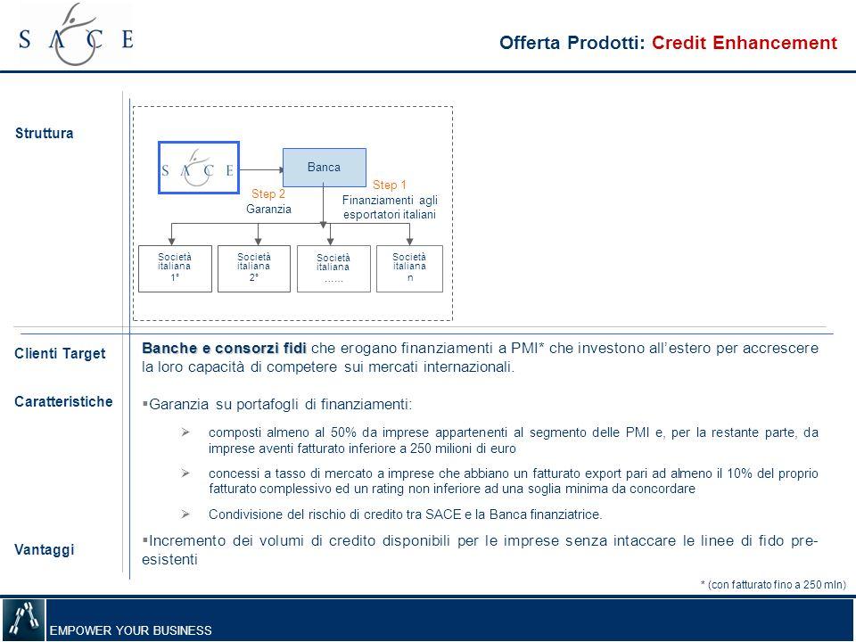 EMPOWER YOUR BUSINESS Banche e consorzi fidi Banche e consorzi fidi che erogano finanziamenti a PMI* che investono allestero per accrescere la loro ca