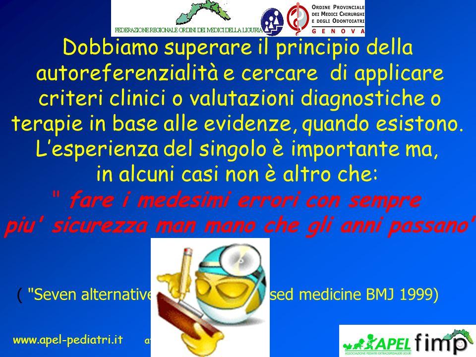 www.apel-pediatri.it aferrand@fastwebnet.it Dobbiamo superare il principio della autoreferenzialità e cercare di applicare criteri clinici o valutazio