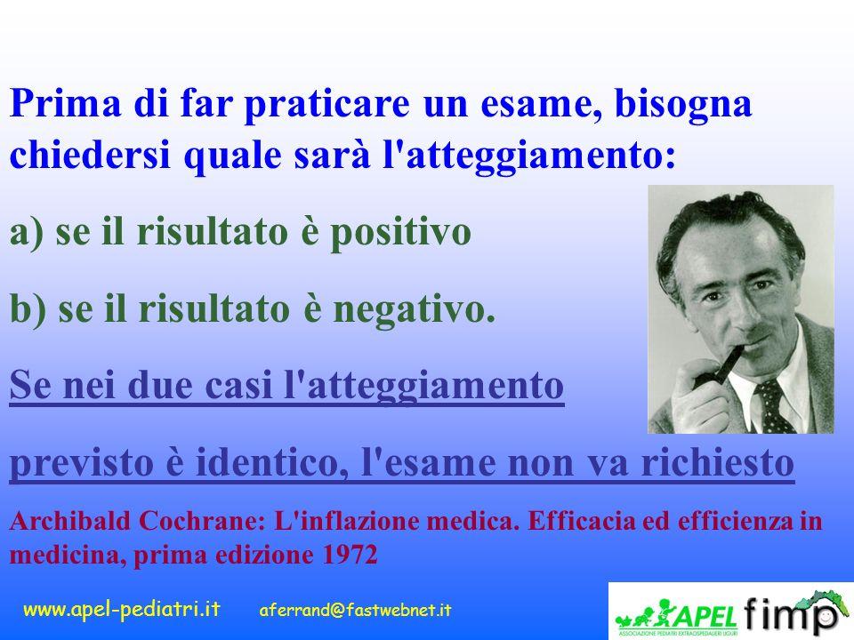www.apel-pediatri.it aferrand@fastwebnet.it Prima di far praticare un esame, bisogna chiedersi quale sarà l'atteggiamento: a) se il risultato è positi