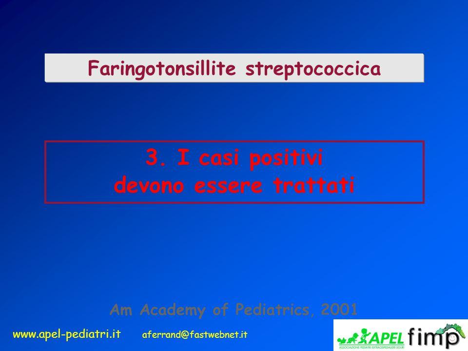 www.apel-pediatri.it aferrand@fastwebnet.it 3. I casi positivi devono essere trattati Faringotonsillite streptococcica Am Academy of Pediatrics, 2001