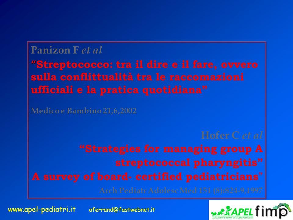 www.apel-pediatri.it aferrand@fastwebnet.it Panizon F et al Streptococco: tra il dire e il fare, ovvero sulla conflittualità tra le raccomazioni uffic