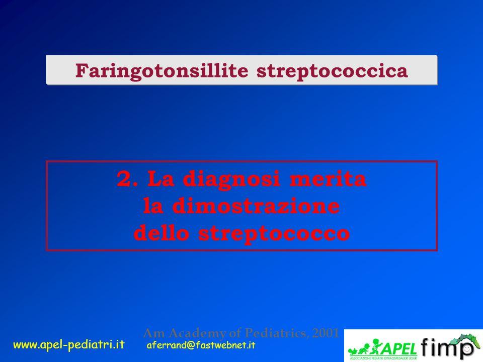 www.apel-pediatri.it aferrand@fastwebnet.it 2. La diagnosi merita la dimostrazione dello streptococco Faringotonsillite streptococcica Am Academy of P