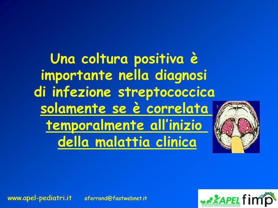 www.apel-pediatri.it aferrand@fastwebnet.it Una coltura positiva è importante nella diagnosi di infezione streptococcica solamente se è correlata temp