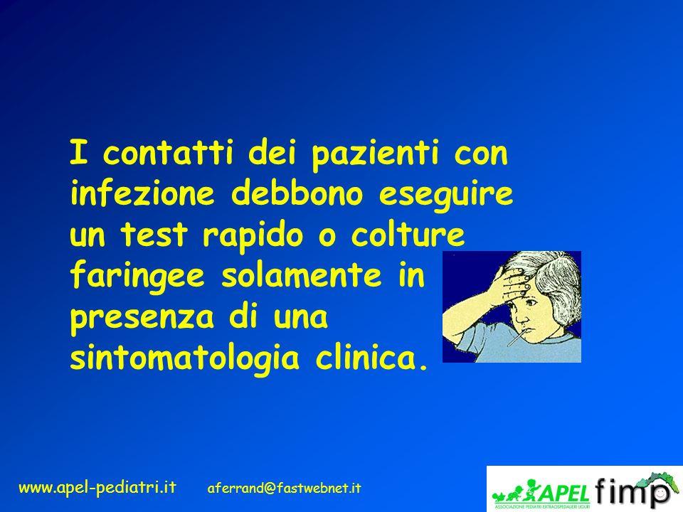 www.apel-pediatri.it aferrand@fastwebnet.it I contatti dei pazienti con infezione debbono eseguire un test rapido o colture faringee solamente in pres