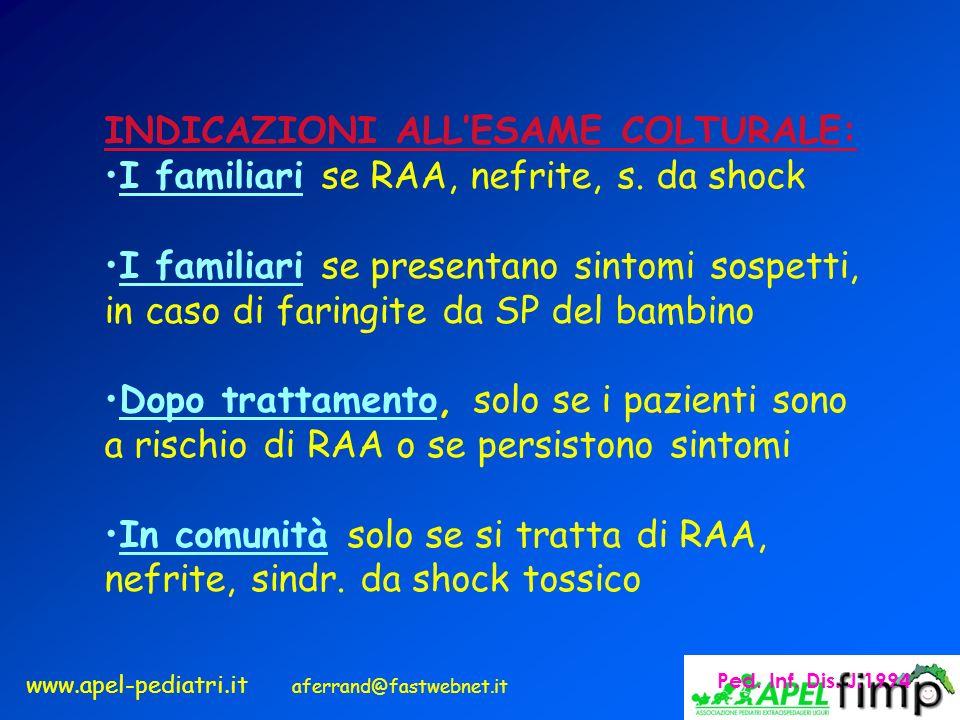 www.apel-pediatri.it aferrand@fastwebnet.it INDICAZIONI ALLESAME COLTURALE: I familiari se RAA, nefrite, s. da shock I familiari se presentano sintomi