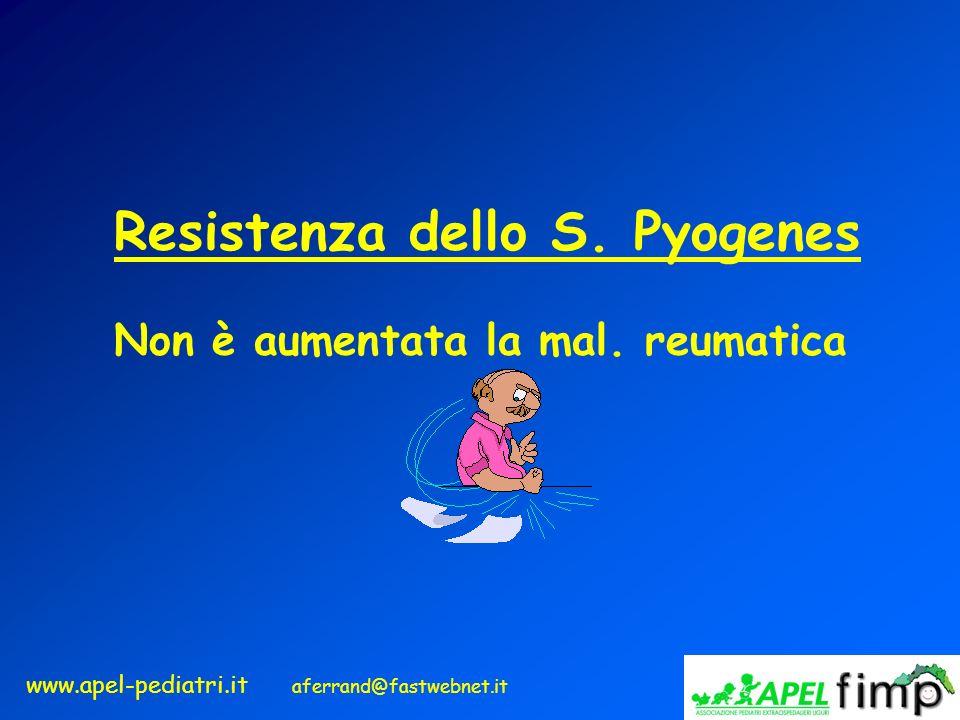 www.apel-pediatri.it aferrand@fastwebnet.it Resistenza dello S. Pyogenes Non è aumentata la mal. reumatica