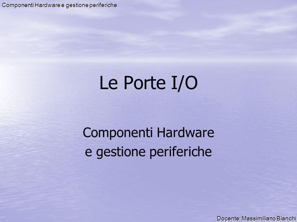 Docente: Massimiliano Bianchi Componenti Hardware e gestione periferiche Le Porte I/O Componenti Hardware e gestione periferiche
